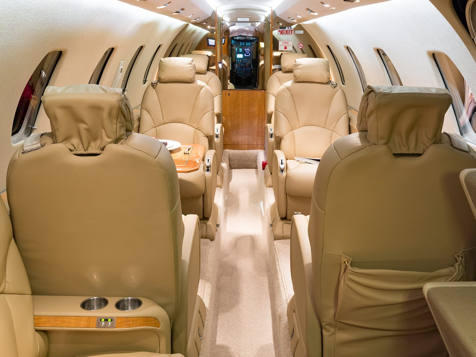 The inside of a Priority Jet airplane