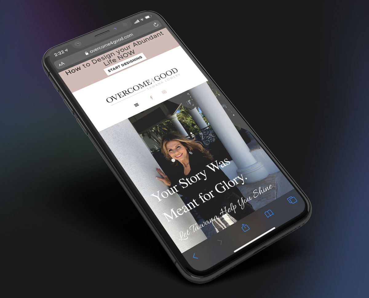 An ad showing an Adam Black Media website on a cell phone.