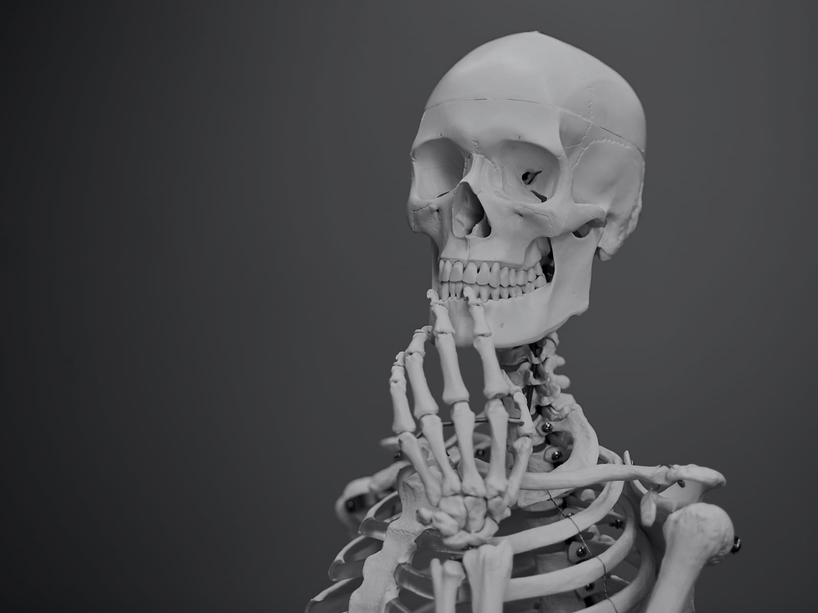 A skeleton asking what chiropractic really is